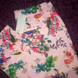 Ovi Pants - Fitted Waist Floral Print Trousers